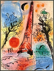 Marc Chagall: Vision of Paris (Vision de Paris) 1960, Original Lithograph with Eiffel Tower | Genuine Prints