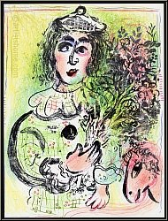 Marc Chagall: 'The Clown With Flowers' 1963, Circus clown in love | Original Lithographs | Genuine Prints