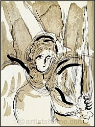 Marc Chagall: Angel with sword, 1956, The Bible, Original Lithograph
