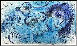 Marc Chagall: The Flute Player (Le Joueur de Flute) 1957, Original Lithograph Mourlot | Limited Edition Prints