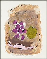 Georges Braque: Original Lithograph, Still Life with Fruits 1962, Kronenhalle - Genuine Limited Edition Prints