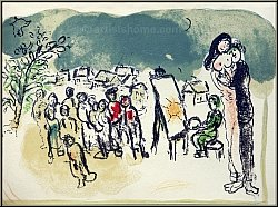 Marc Chagall: Original-Lithograph Homage Lovers and Painter, 1968