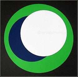 Geneviève Claisse: 'Cercles' 1967, Original Silkscreen Print, Green White and Blue on Black, signed | Prints
