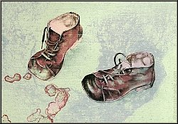 Reiner Schwarz: Unique lithograph 'Kinderspiel' 1974 signed, pair of brown child's shoes on pale green paper