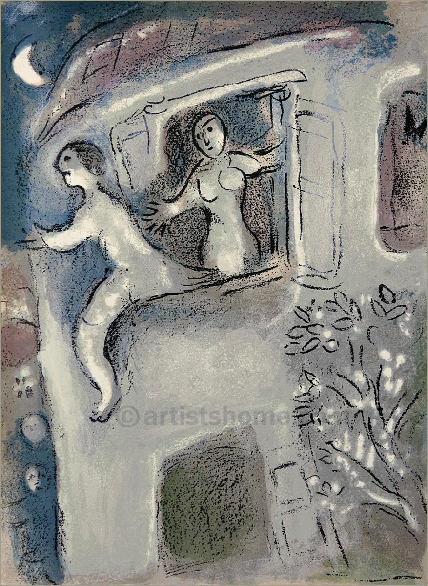 "Marc Chagall: Original Lithograph Bible ""David saved by ... Chagallbijbel"
