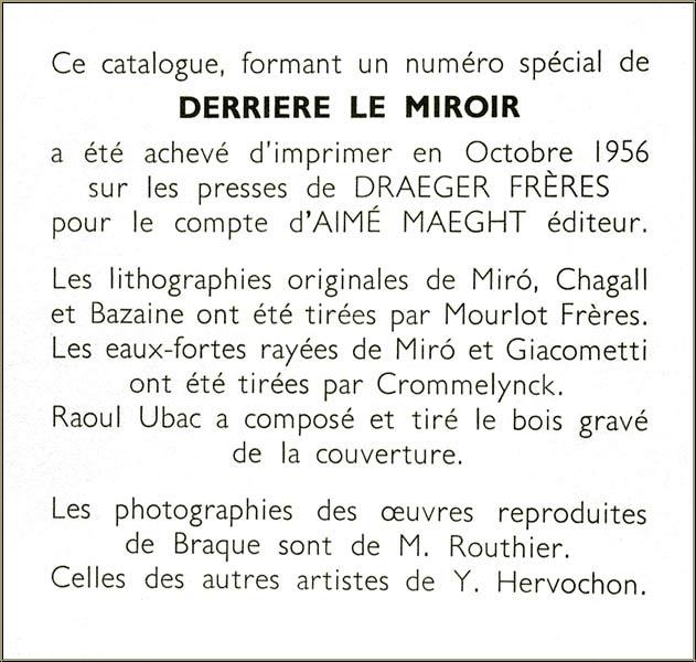 Miro chagall giacometti ubac 1956 derriere le miroir for Maeght derriere le miroir