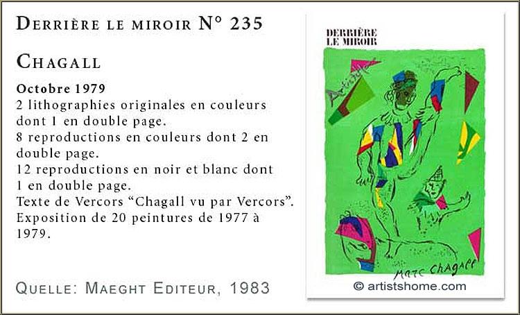 Marc chagall 1979 derriere le miroir dlm 235 original for Marc chagall derriere le miroir