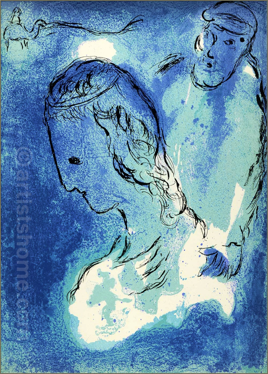 Marc Chagall: Abraham and Sarah, 1956, The Bible, Original Lithograph