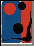Alexander Calder: Composition on Red and Blue 1966 Original Lithograph